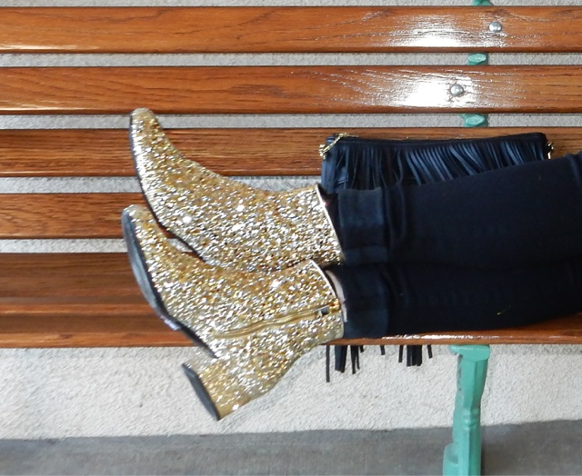 How to wear YSL Gold Glitter Boots by The High Heeled Brunette