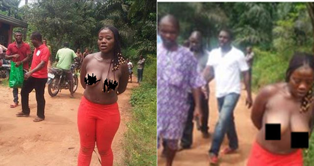Nigerian Slay Queen Caught And Disgraced After She Jumped Into Someone`s Fence To Steal Biscuit In Anambra (Photos)
