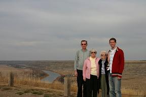 Dad, mom, Auntie Joe, and I overlooking Red Deer River