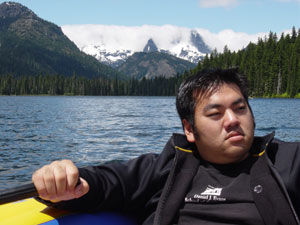 Photo of Nick Peyton on Cooper Lake about 30 miles away from Roslyn, WA on June 17, 2006. Photo courtesy of Nick Peyton.