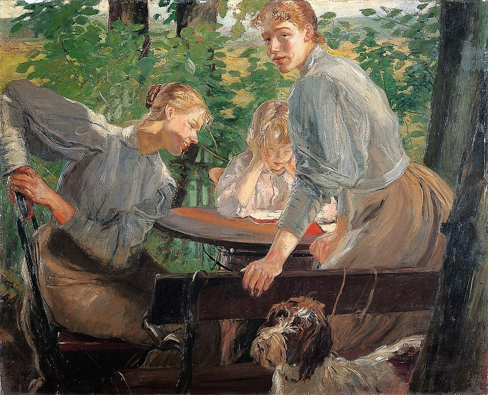 Fritz von Uhde - The Daughters of the artist in the garden (1897)