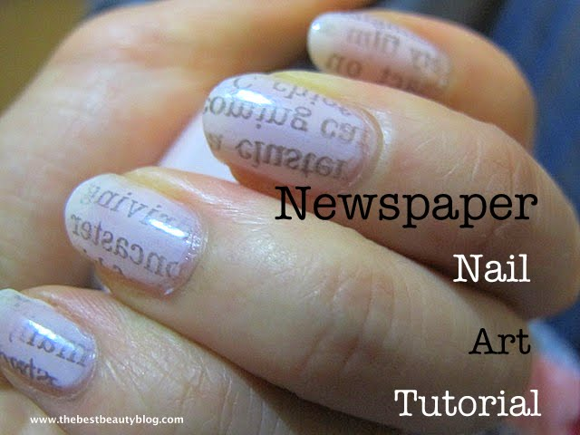 newspaper print nail art tutorial