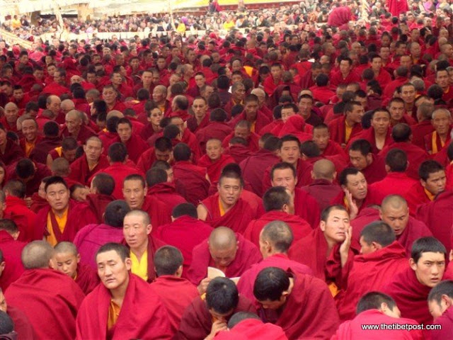 Massive religious gathering and enthronement of Dalai Lama's portrait in Lithang, Tibet. - l93.JPG