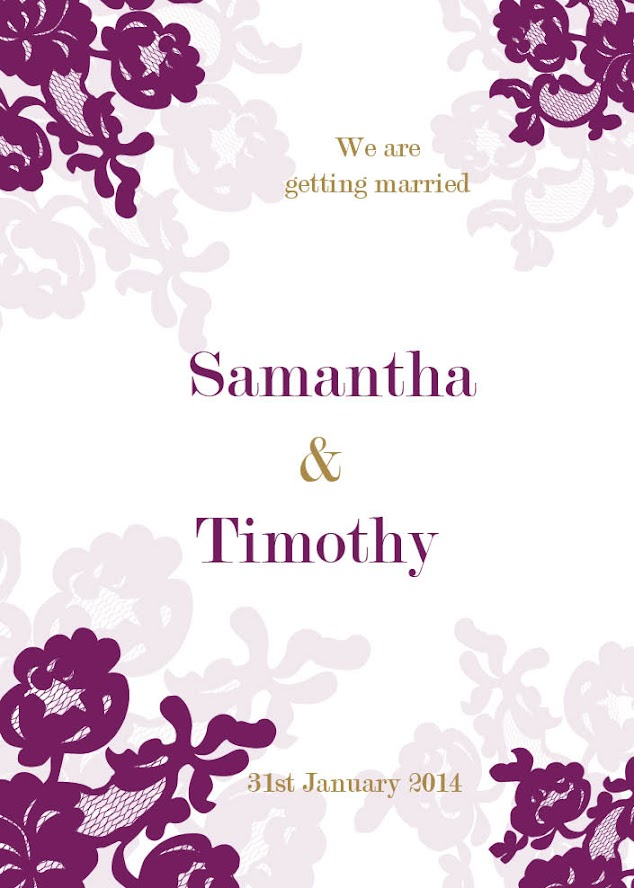 Abigale 5x7 Flat Wedding Invitation in Aubergine Lace Inspired Design by DreamDay Invitations