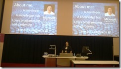 Sarah presenting her talk