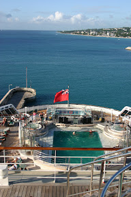 Aft of the Queen Mary 2 at Barbados