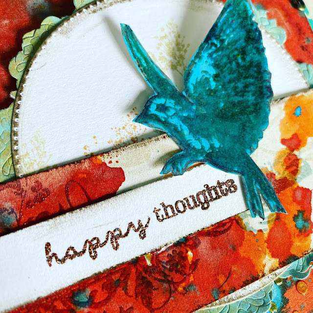 Mixed media bird card using Tim Holtz stamps