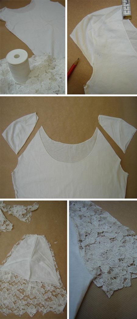 diy customização de camiseta branca com renda