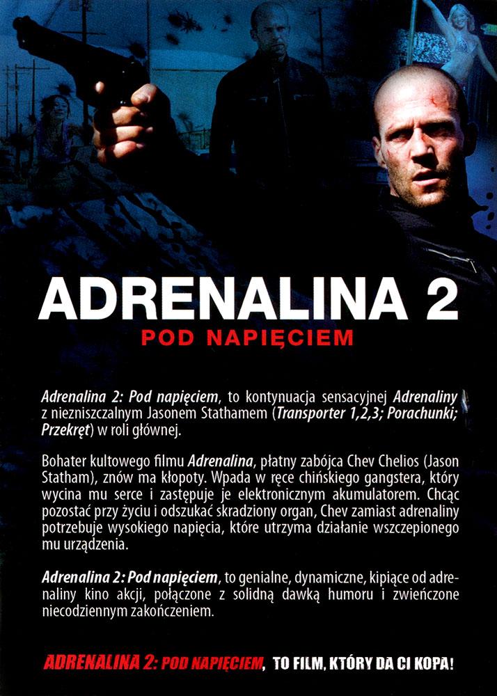 Ulotka filmu 'Adrenalina 2. Pod Napięciem (tył - wersja B)'