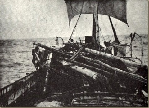pinnas - view astern of wrecked masts