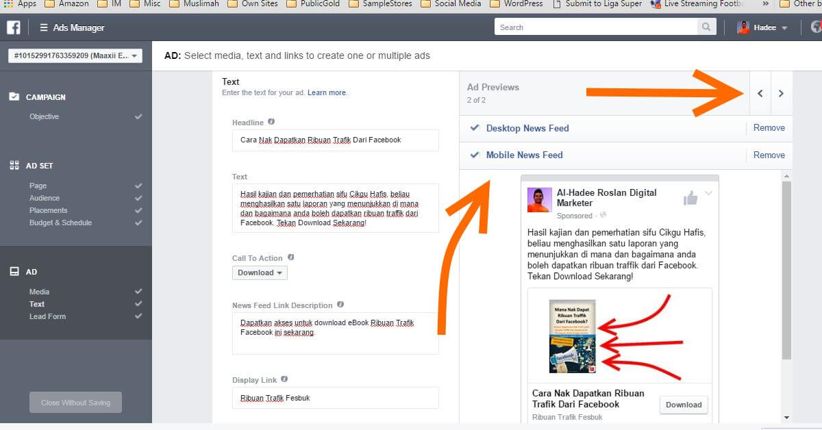 Facebook Ads Ad Text Mobile
