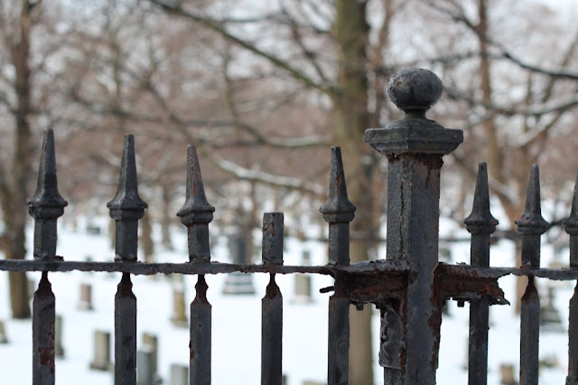 rusting iron fence with a cemetery in the background