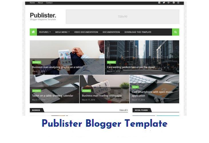 Publister Premium Blogger Template Free Download