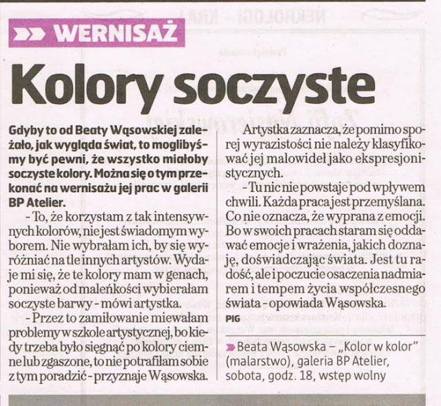 Kolor w Kolor, malarstwo Beaty Wąsowskie, BP Atelier Opole