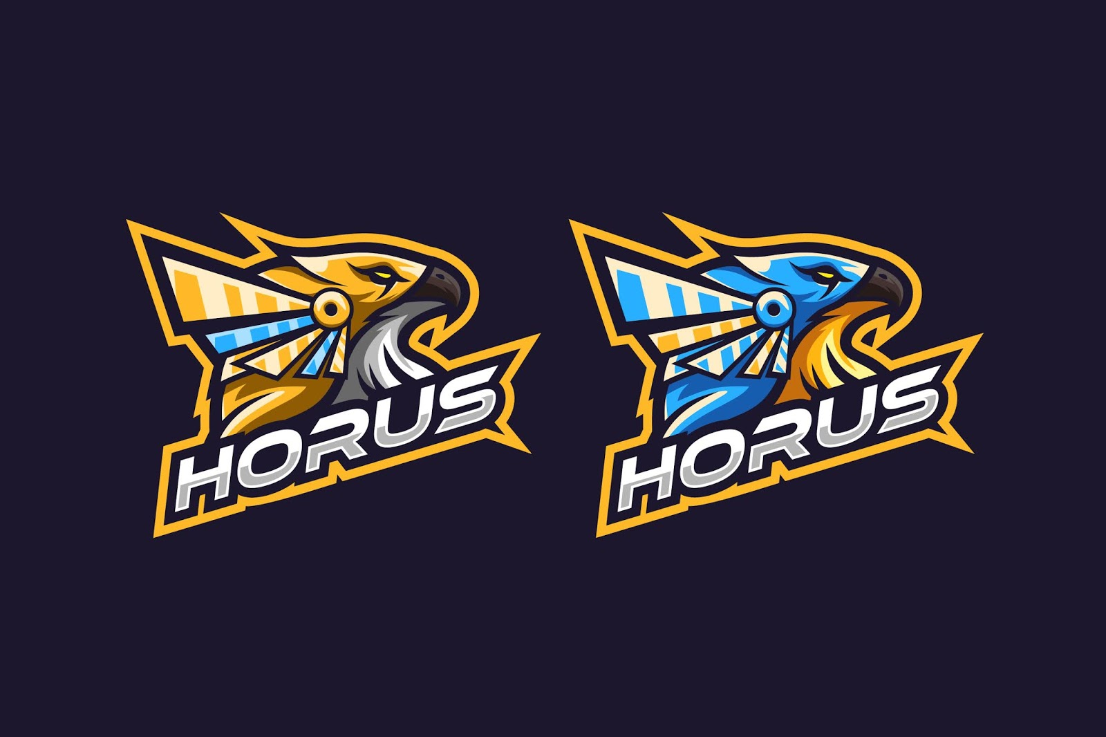 Awesome Horus Logo With Gold Blue Free Download Vector CDR, AI, EPS and PNG Formats