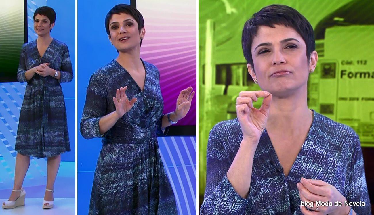 moda do programa Globo Ação - look da Sandra Annenberg com vestido estampado manga longa dia 12 de julho
