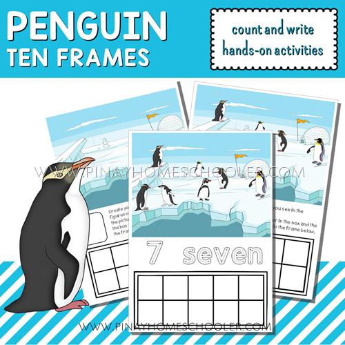 Winter Printable Penguin Ten Frames Count and Write Activities
