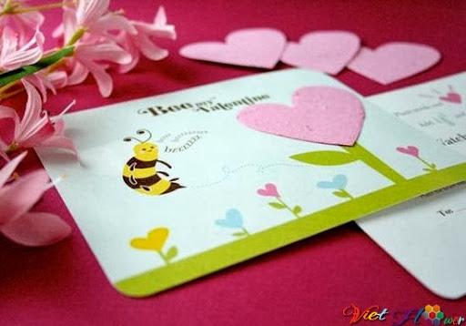 Đưa vườn hoa lên thiệp valentine
