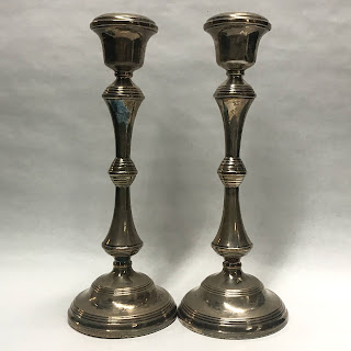 Sterling Silver British Candle Stick Pair