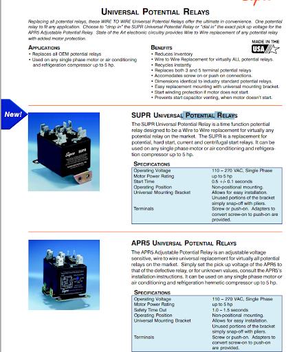 supco universal potential relays for a cruisair compressor. Black Bedroom Furniture Sets. Home Design Ideas