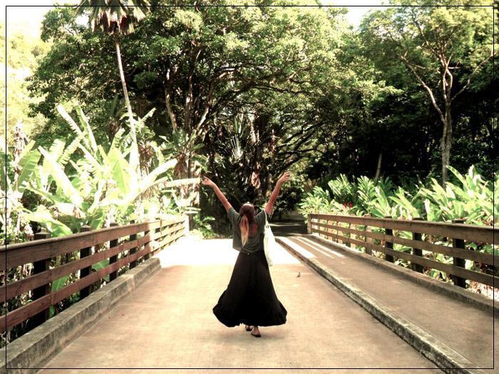Ponte para a cachoeira de Waimea Valley