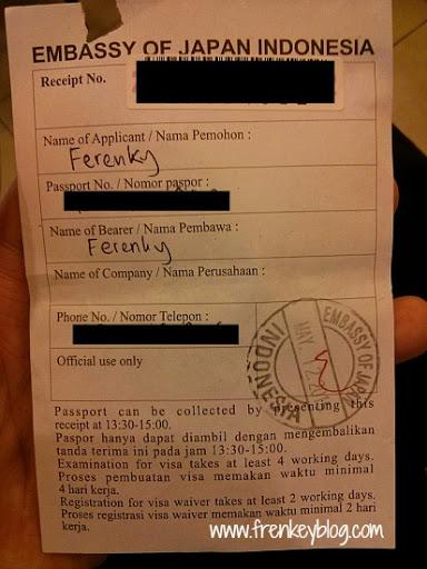 Bukti Penyerahan Dokumen untuk Visa Jepang