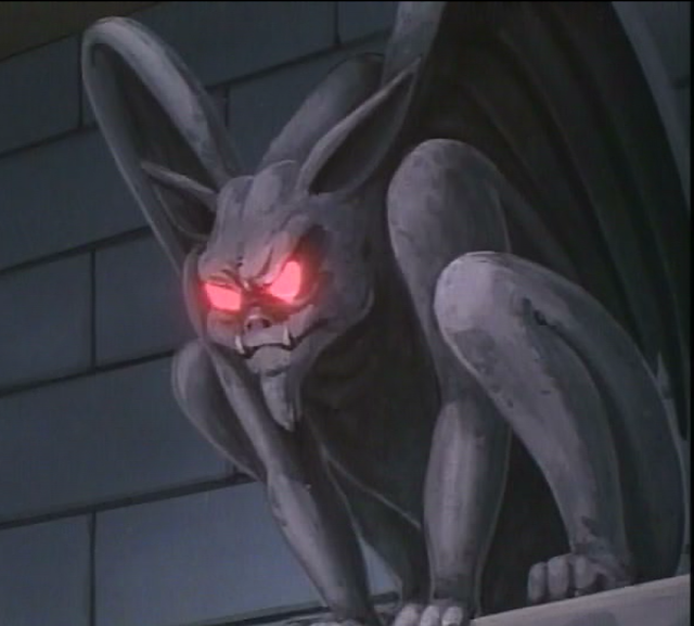 Gargoyle with glowing eyes
