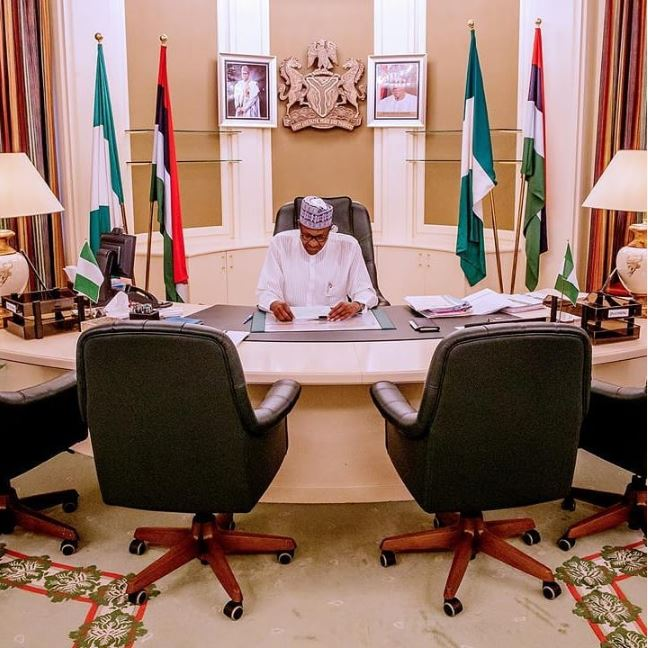 President Buhari Resumes Office After Election Break (Photos)