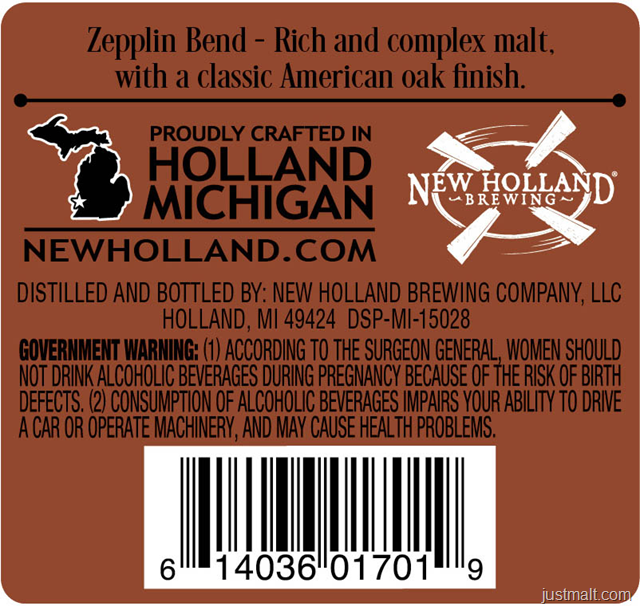 New Holland Distilling Zeppelin American Single Malt