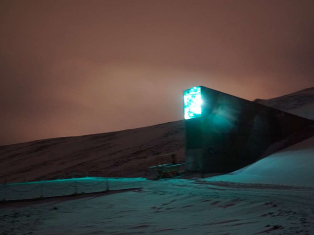 The entrance to the Svalbard Global Seed Vault at night. Photo: David Keyton / AP Photo