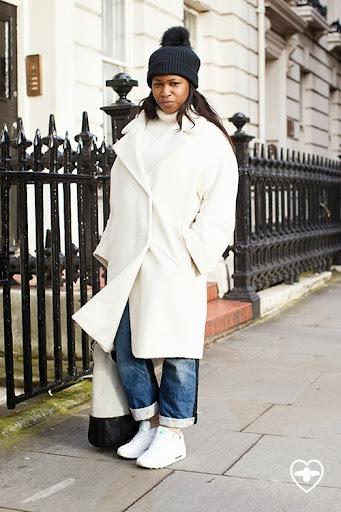 Lynette Nylander; fashion editor; Marc Jacobs hat; & Other Stories jumper; Topshop coat; Topshop socks; Junya Watanabe for Comme des Garcon jeans; Nike trainers; Celine bag;