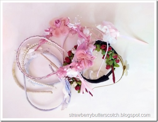 A pile of pretty headbands, mixed up and cluttered.