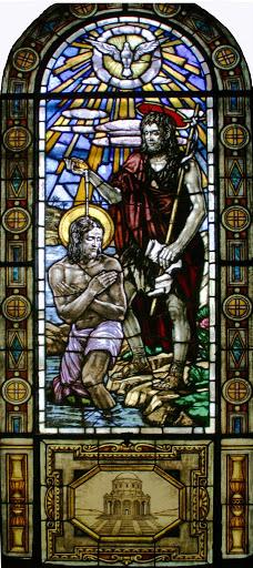 La vetrata del Battesimo di Gesù al Giordano