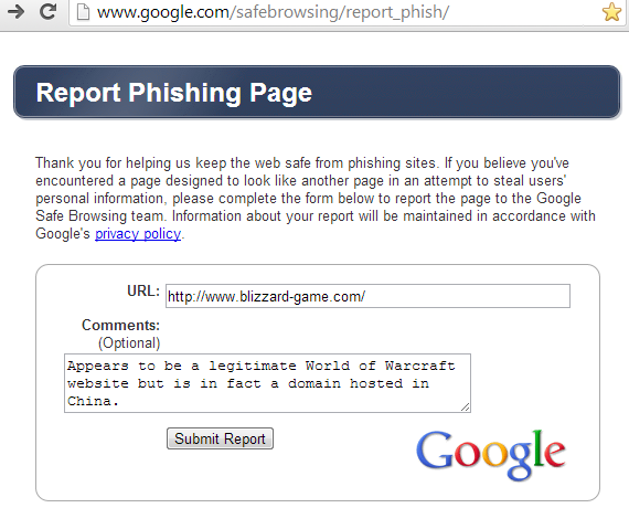 Report World of Warcraft Phishing Site