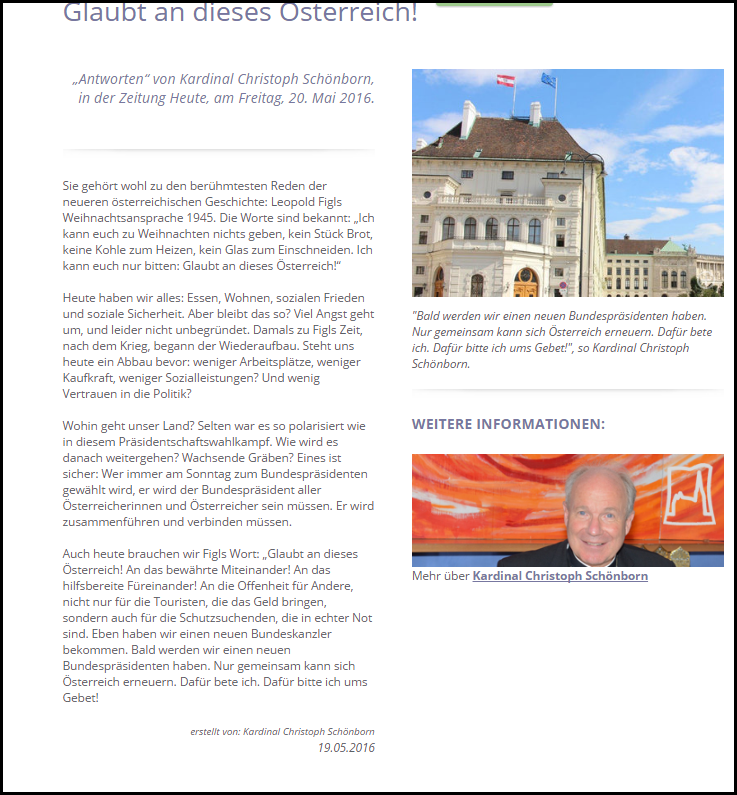 SChönborn Glaubt an dieses Österreich