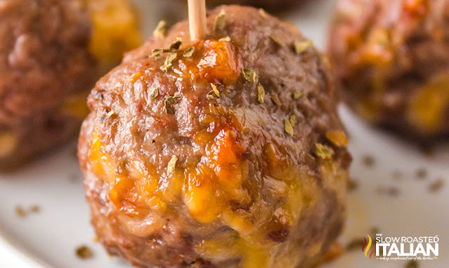 air fryer meatballs closeup on one meatball