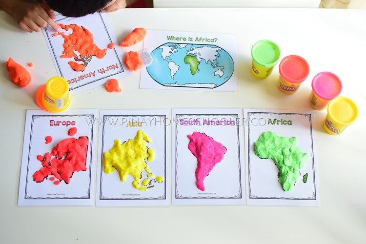 World Continents Activity Using Playdough