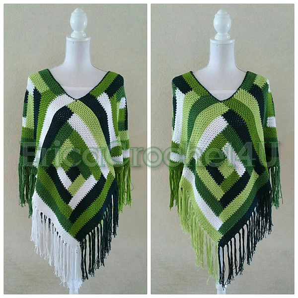 Green color blocked poncho