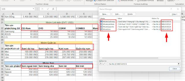 Dùng hàm INDIRECT kết hợp Data Validation giải bài toán Excel phụ thuộc