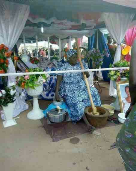 Deceased food vendor caught 'pounding yam' during her lying-in-state