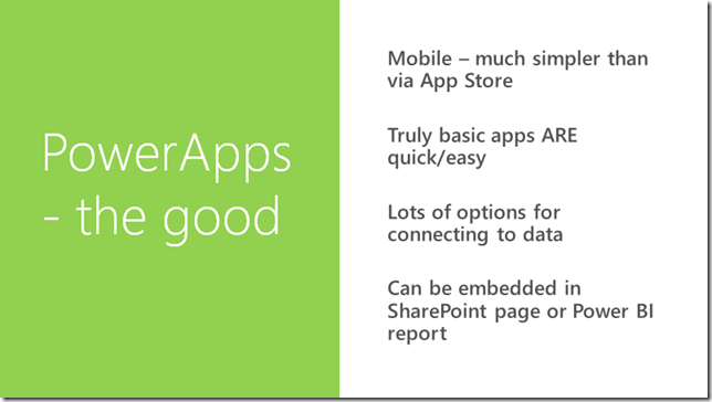 Chris O'Brien: PowerApps–the good, the bad and the ugly