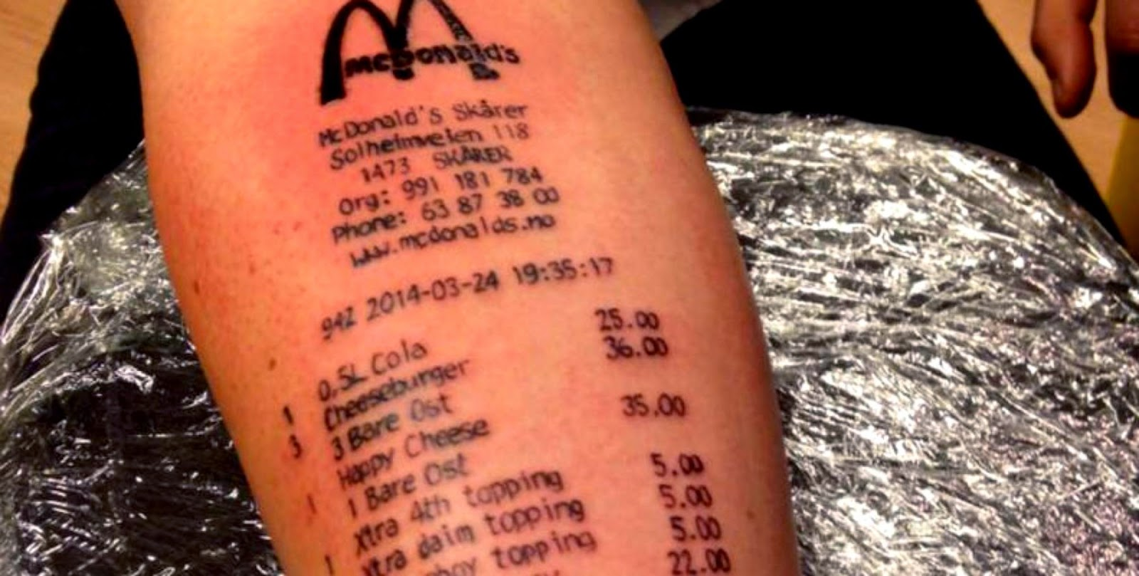 Loyal Customer39 Gets McDonald39s Receipt Tattooed On Arm