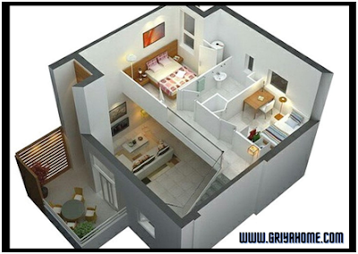 Desain Rumah Minimalis 2 Lantai Kamar Terpisah.