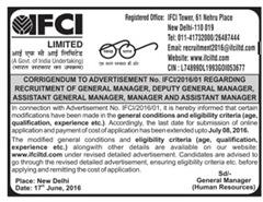 IFCI Limited Corrigendum 2016 indgovtjobs