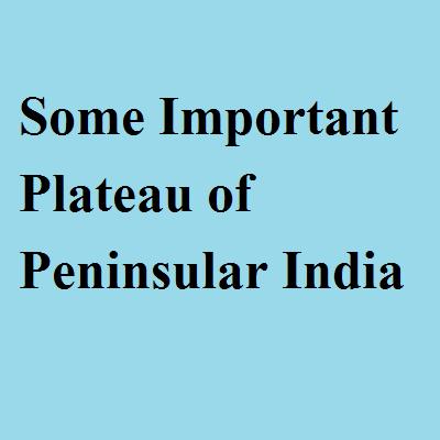 Some Important Plateau of Peninsular India