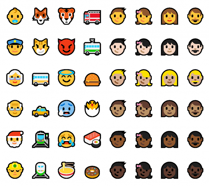 Updated Emoji in Windows 10 insider preview build 14316 (www.kunal-chowdhury.com)