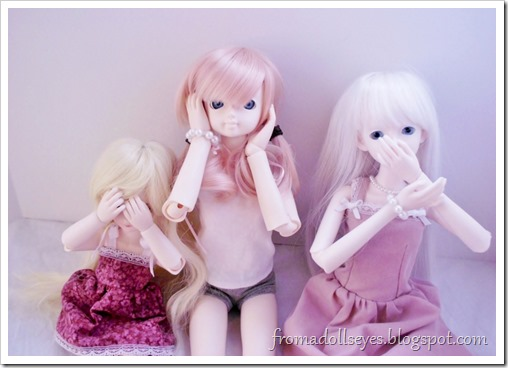 Wordless Wednesday: See No Evil, Hear No Evil, Speak No Evil or Three Wise Ball Jointed Dolls