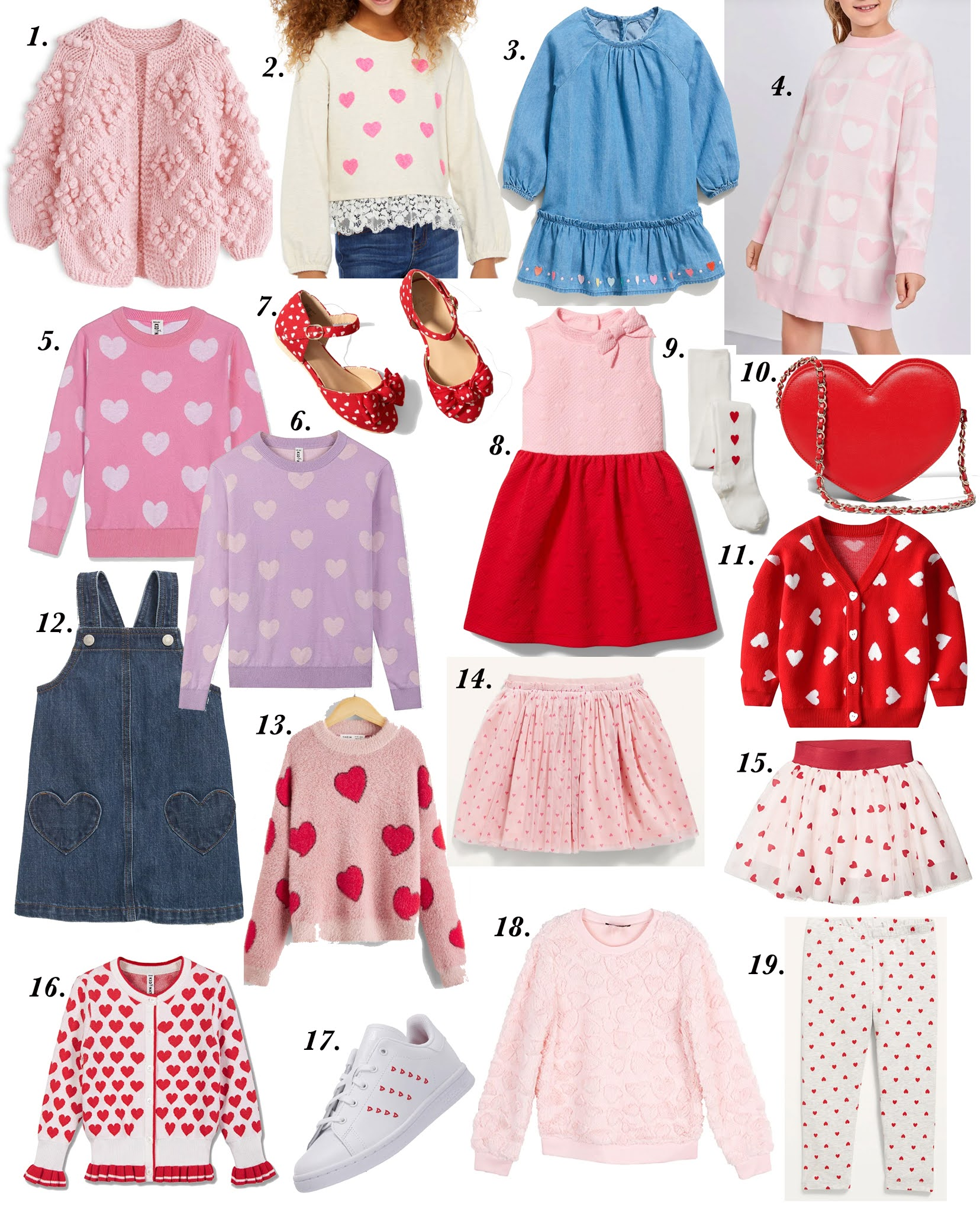 Valentines Day Outfit Inspo for Kids - Valentine Outfit Inspiration for Adults and Kids: Something Delightful Blog #ValentinesDay #HeartSweaters #ValentinesDayInspo #ValentinesDaySweaters #Pink #Affordable Fashion