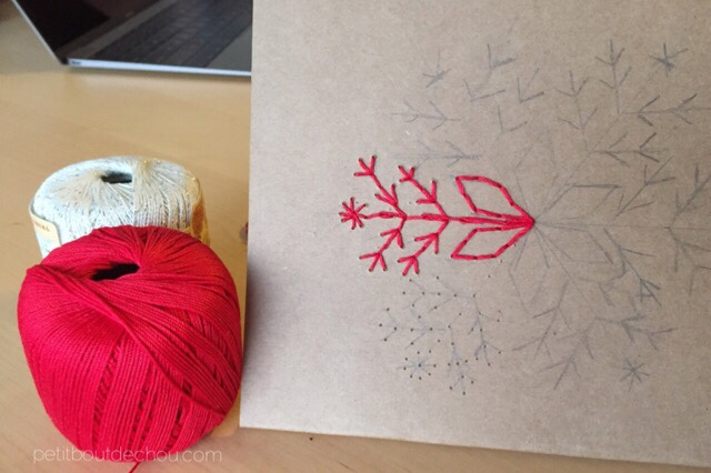 Christmas craft card embroidery red cotton