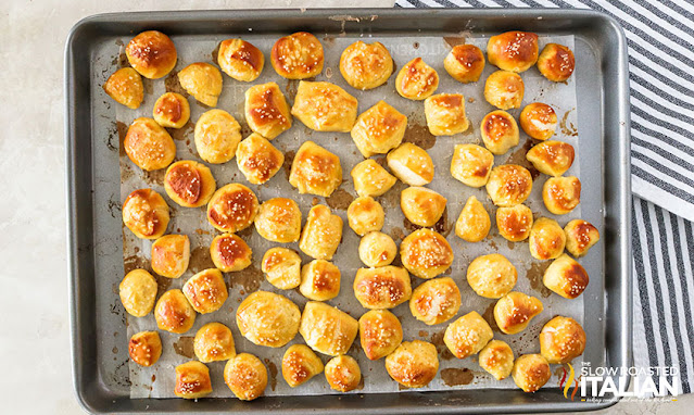 baked pretzel bites on a baking sheet